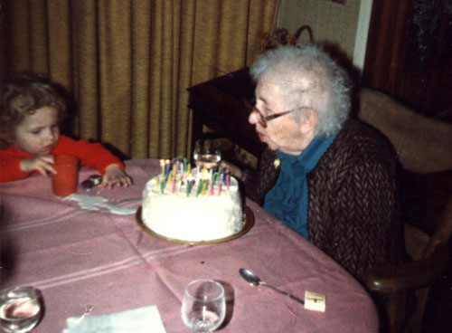 Nathaniel and his great-grandmother in 1983 or 84.