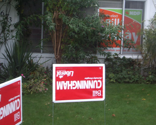 Bill Cunningham Liberal signs Bill Siksay NDP signs