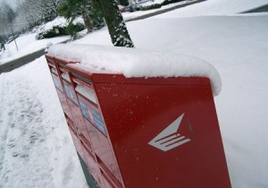 The mailboxes outside my work covered in snow...