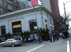 Middle class people brave skid row for recession sales