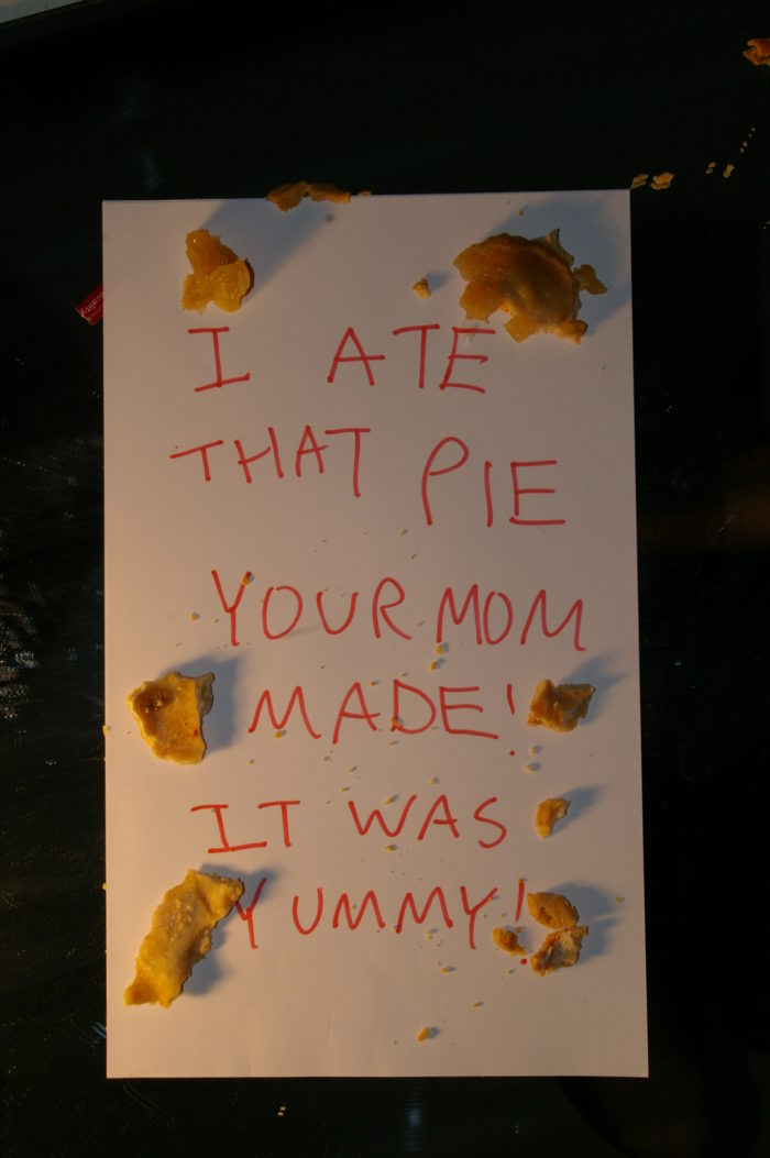 Note written with pie