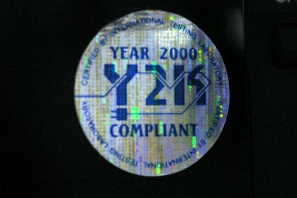 Y2K compliant sticker