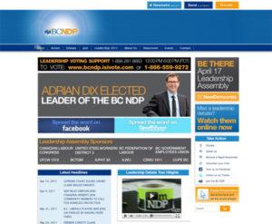BC NDP homepage