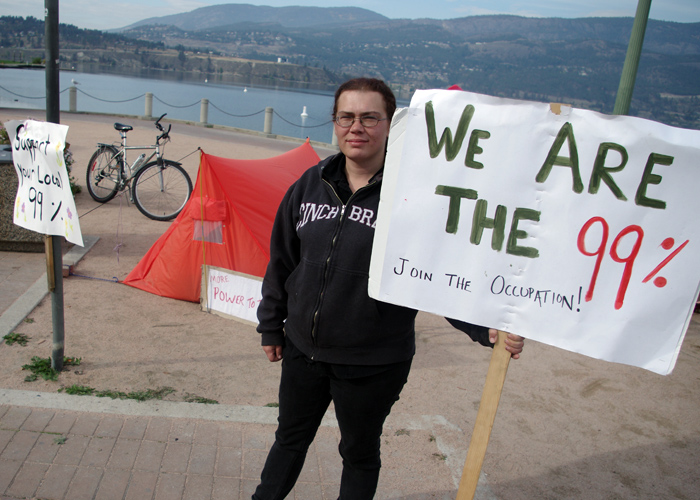 Brandy McNeill at the Occupy Kelowna protest