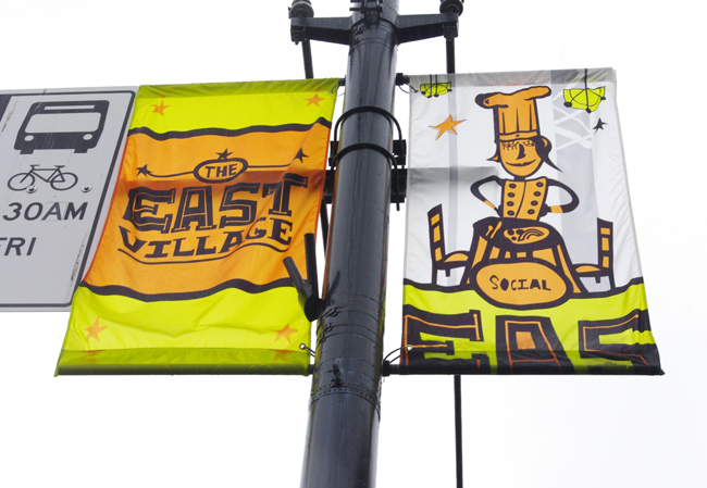 "The new ""East Village"" banners along Hastings in East Vancouver."