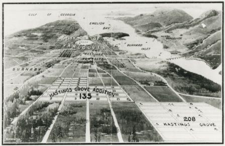 "Photograph of an aerial drawing of Hastings Grove and Hastings Grove Addition in North Burnaby, as well as the surrounding area. A caption above the drawing reads, ""a splendid view of the City, Fraser River, Burrard Inlet and the Mountains."" A caption below the drawing reads, ""Hastings Grove and Hastings Grove Addition."""