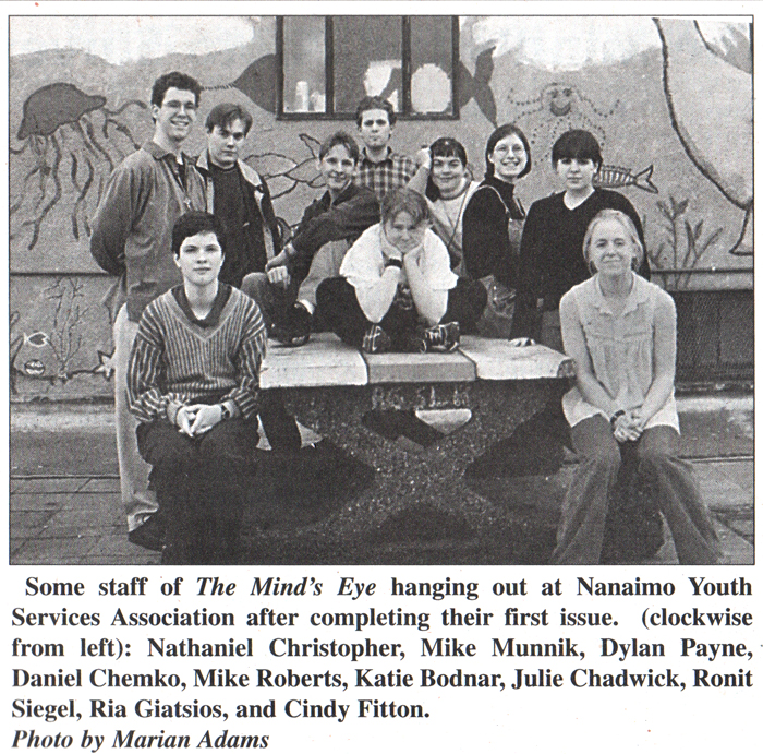 The first Mind's Eye staff photo. I was wearing a McDonald's uniform underneath my sweater.