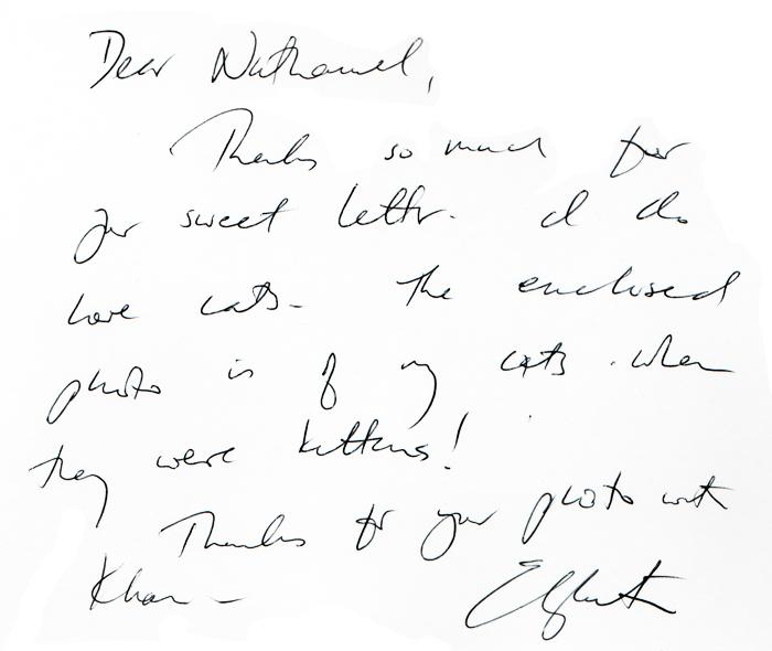 Elizabeth's letter to me.