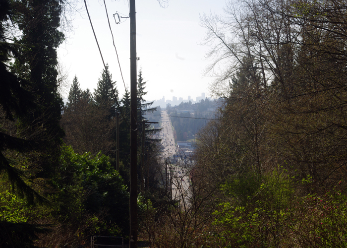 Looking down on Hastings from the Trans Canada Trail on Burnaby Mountain.The end of Hastings.