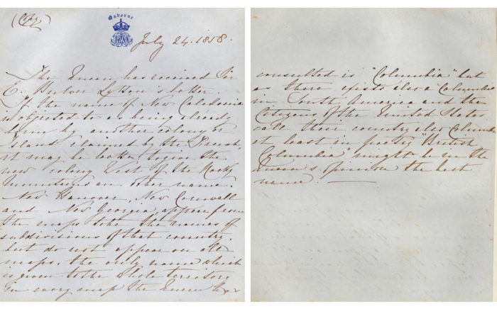 "Letter from Queen Victoria in which she recommends the name ""British Columbia"" for this land."