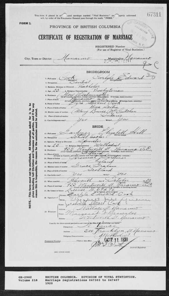 Kim Campbell's grandparents' marriage certificate.
