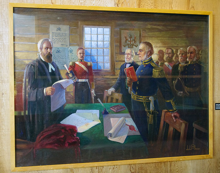 "John Innes' 1925 painting ""James Douglas Taking The Oath As First Governor of BC, A.D. 1858"" on display at Simon Fraser University in Burnaby."