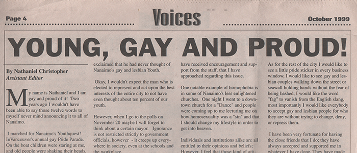 "Young, gay and proud! My big ""coming out"" article from 1999."