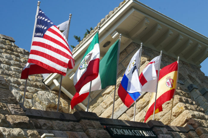Seven flags at Sonoma City Hall.