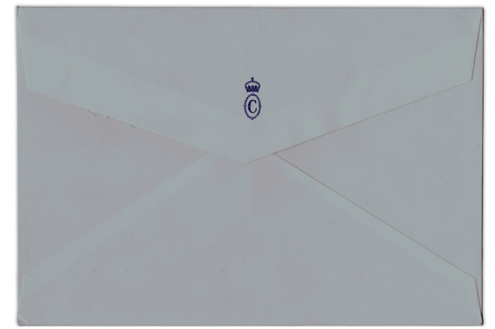 The Duchess of Cornwall's royal monogram on the back o the envelope.