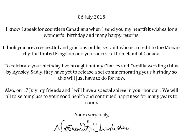 My well wishes to Her Royal Highness.