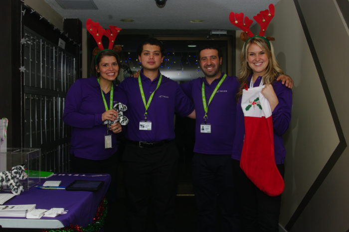 The Telus team set up a little Christmas promotion table in the lobby of my building.