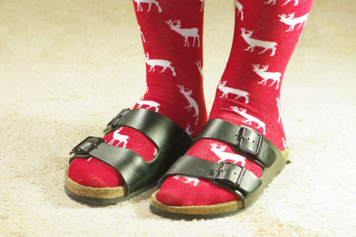 Christmas socks and Birkenstocks