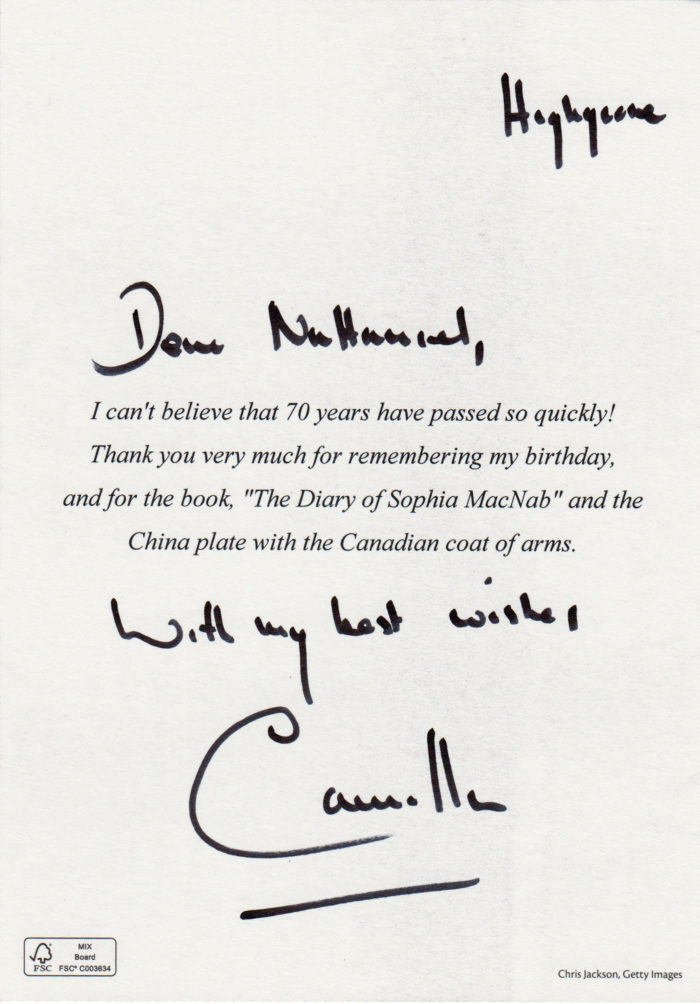 2017 card from HRH the Duchess of Cornwall