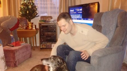 Nathaniel with Jamie the dog