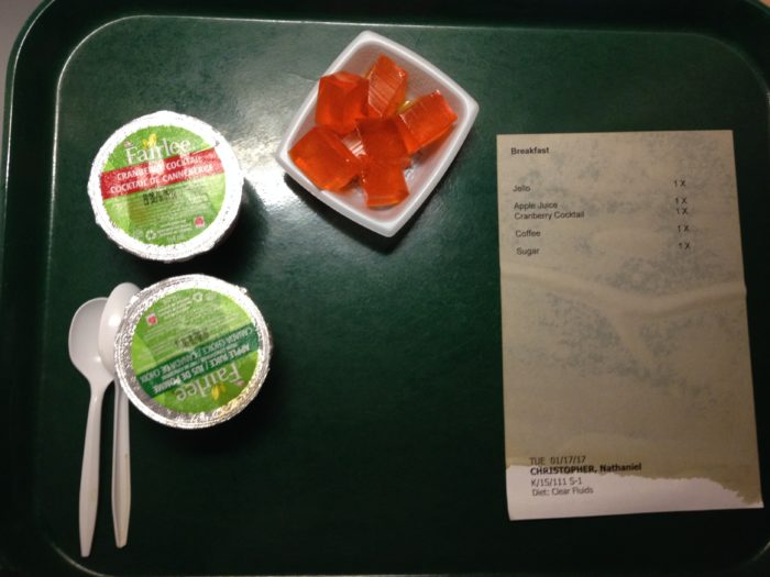 My first post-surgery meal... the receipt is a lie - there was no coffee. :(