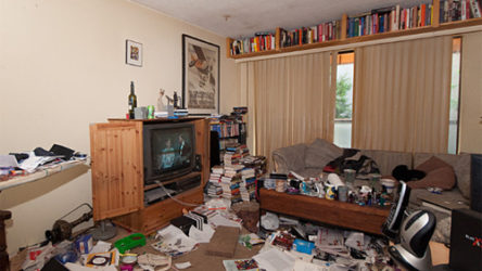 Real estate ad showcases VERY messy (hoarder?) apartment!