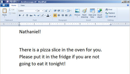 Housemate leaves me a note in WordPad!