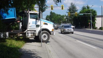 Truck over sidewalk