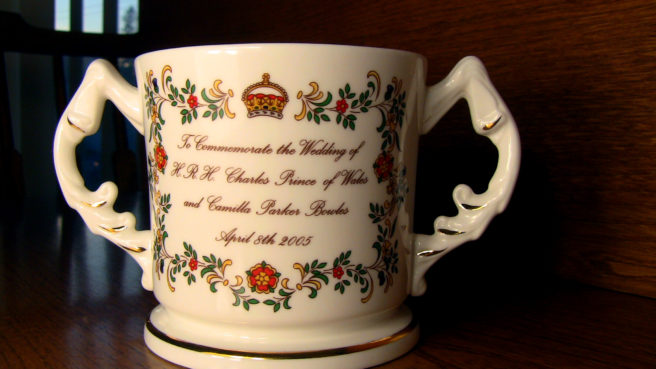 "Aynsley Charles and Camilla commemorative loving cup. It reads, ""To Commemorate the Wedding of H.R.H. Charles Prince of Wales and Camilla Parker Bowles April 8th 2005"""