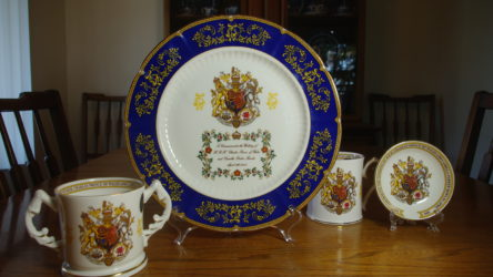 My prized four-piece Aynsley set which commemorates the marriage of Charles and Camilla.