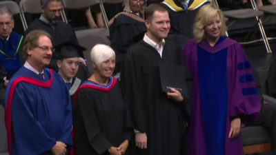 Nathaniel Christopher graduating from Douglas College.